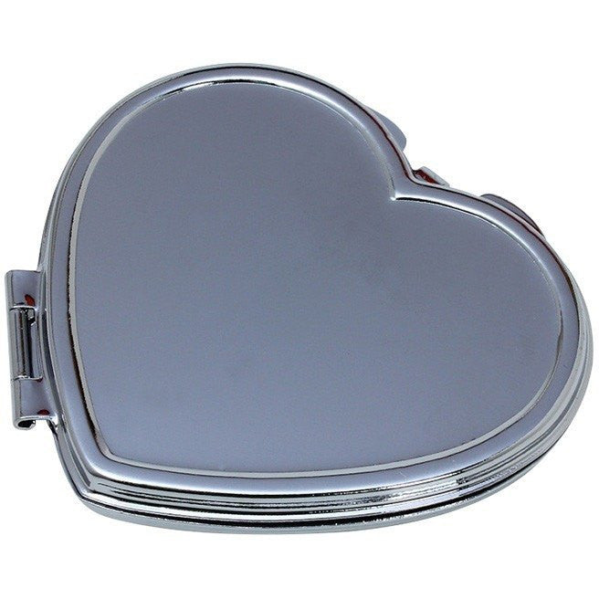 Wholesale Lot of 25 Blank Metal Compact Cosmetic Mirror Cases Heart DIY