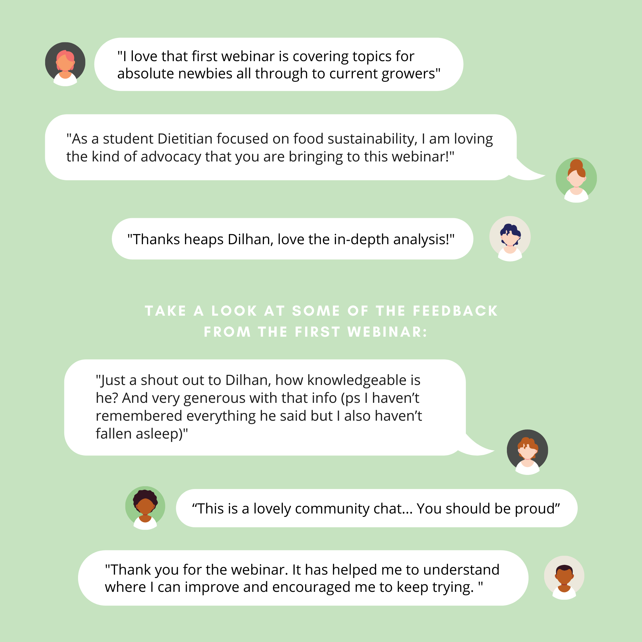 Feedback Messages from our first webinar attendees
