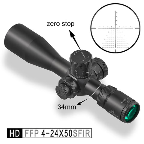 Discovery HD 4-24X50 SFIR FFP Zero Stop Tactical Long Range Shooting Hunting riflescope 34mm Tube First Focal Plane Rifle Scope
