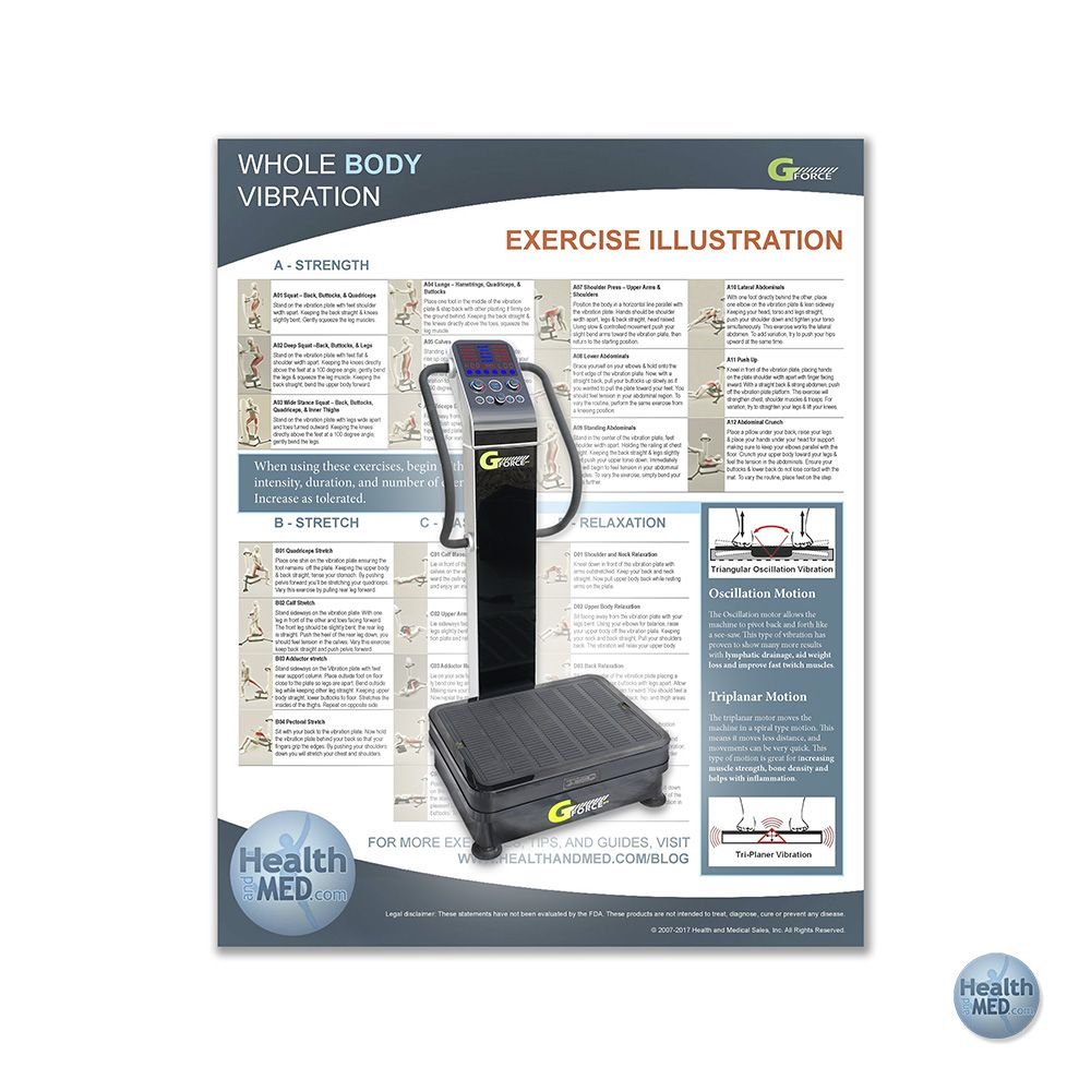 Find Out How to Get in Shape, Relax, and More with the New Whole Body Vibration Machine Exercise Chart from HEALTHandMED