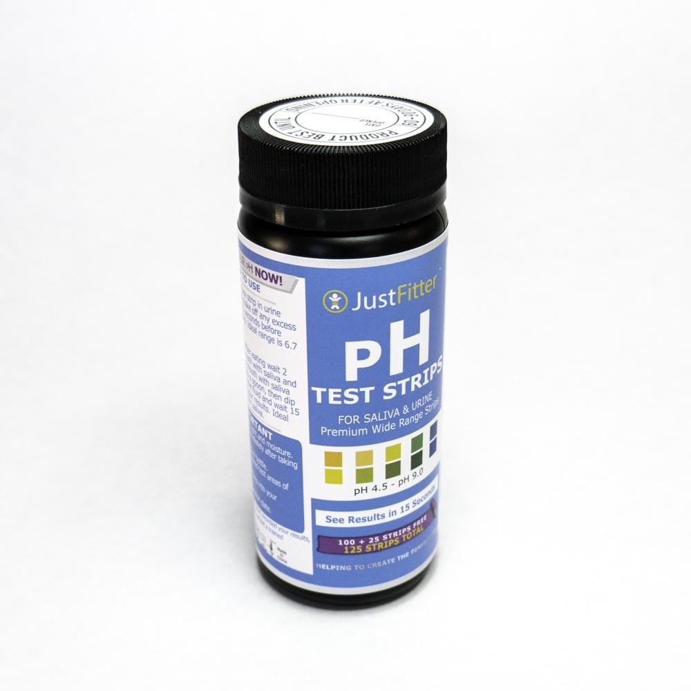 JustFitter pH Test Strips (100 Strips + 25 FREE) for Alkaline & Acid Testing