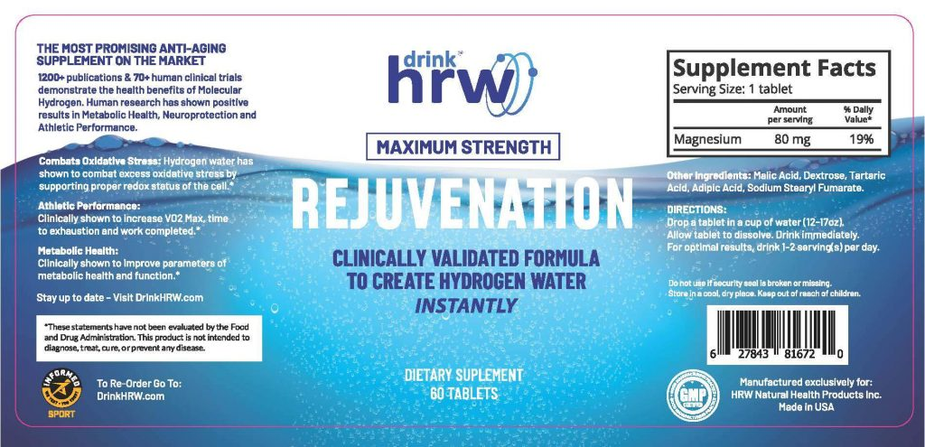 Drink HRW Rejuvenation H2 Tablets - 60 Tablets