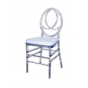 Phoenix Chair With Leather Cushion - Clear