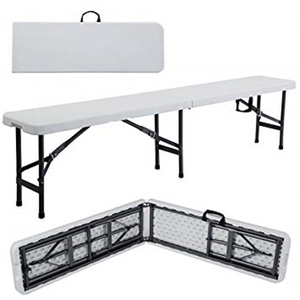 Plastic Folding Bench - 1.85m - White