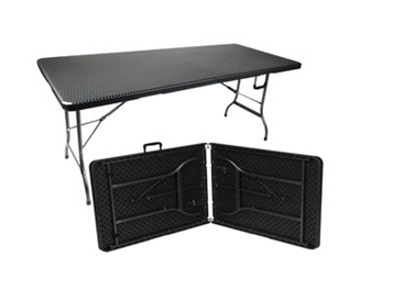 PLASTIC FOLDING TABLE BLACK RATTAN PATTERN