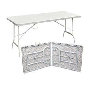 PLASTIC FOLDING TABLE WHITE RATTAN PATTERN 1.8M