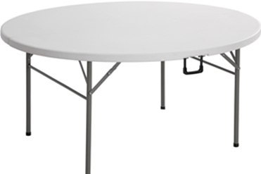 Plastic Round Catering Table - Folding - 1.8m - White