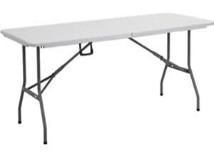 Plastic Rectangular Trestle Table - 1.8m - White