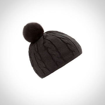 Oh! OH! Hat Cable w/Mink Pompom Beanies Black