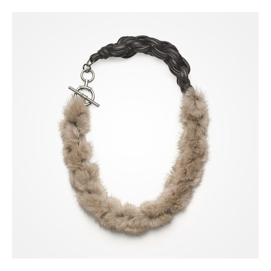Oh! OH! Gabrielle Necklace Mink Necklace Warm Grey