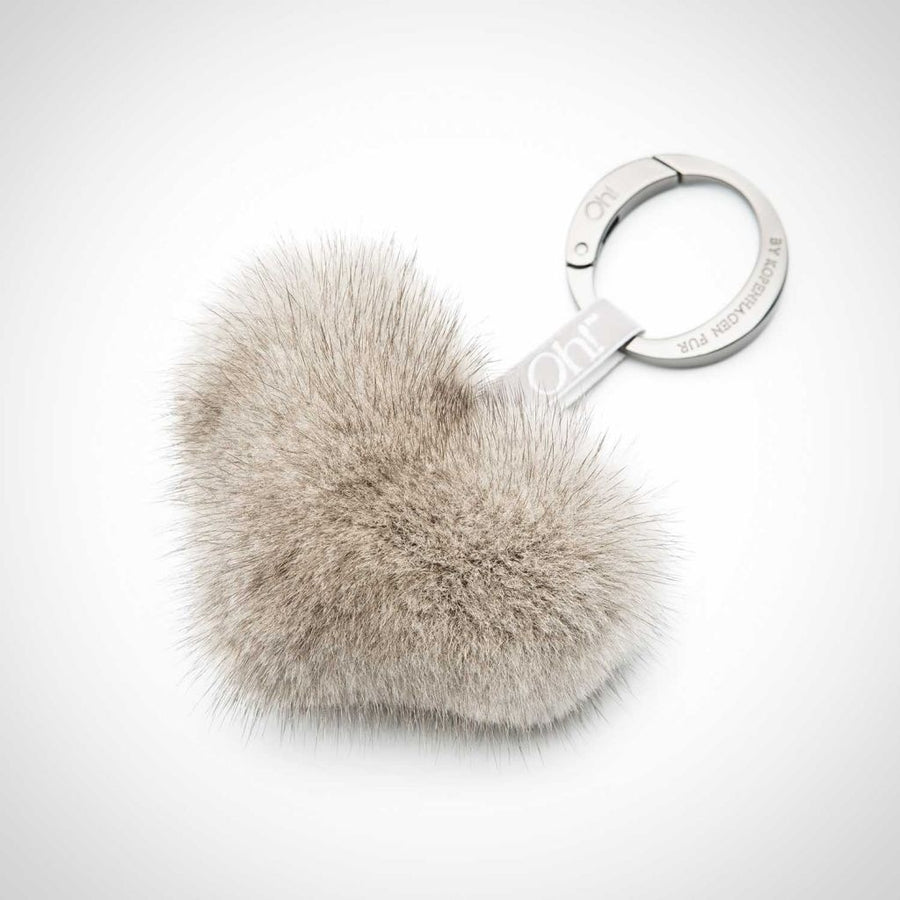 Oh! OH! Heart Mink Keyring Keyhangers Silver Blue