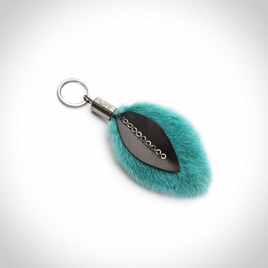 Oh! OH! Leaf Keyring Mink Leather Keyhangers Ceramic