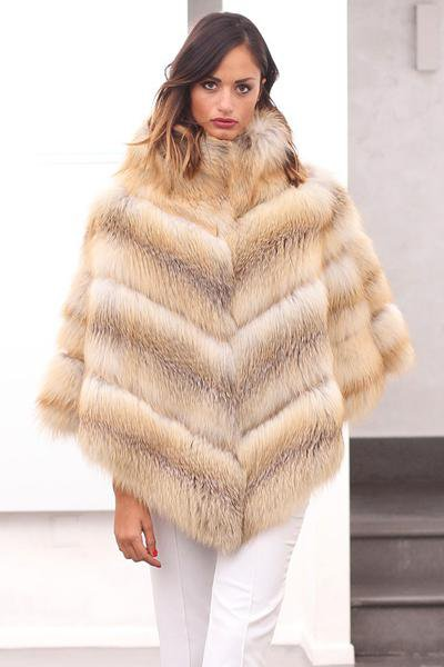 Fashion Fur Coat Jacket Fox Poncho
