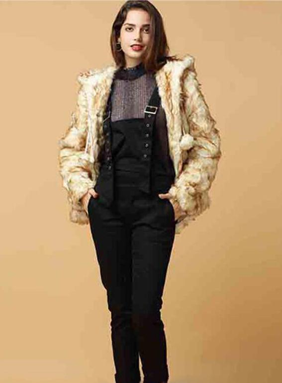 Cute Beige Long Fur Coat