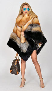 Red Fox Fur Poncho Coat