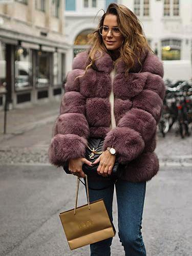 Thin Collor Fox Fur Coat