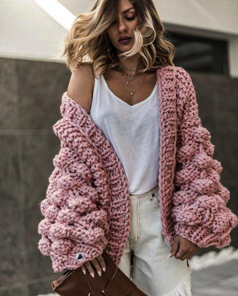 Cardigan Lantern Sleeve Sweater Coat