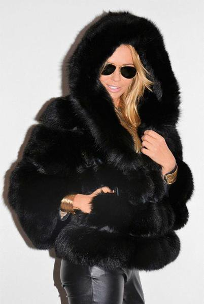Woman Short Hooded Fur Coat