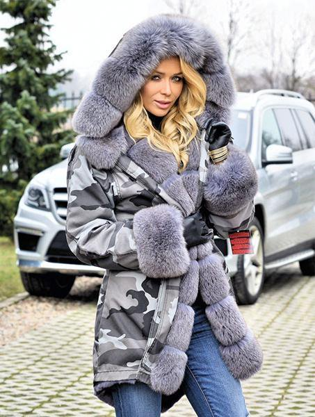 Camouflage Hooded Long Sleeve Fur Coat