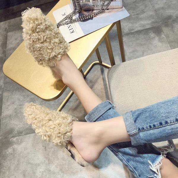 Winter Fashion Solid Fur Slippers