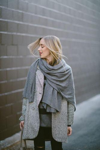 Gray loose imitation cashmere scarf