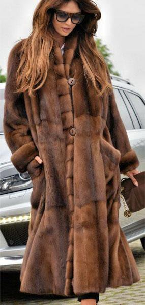 Female Camel Long Button Fur Coat