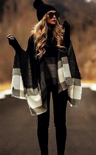 Black And White Striped Shawl