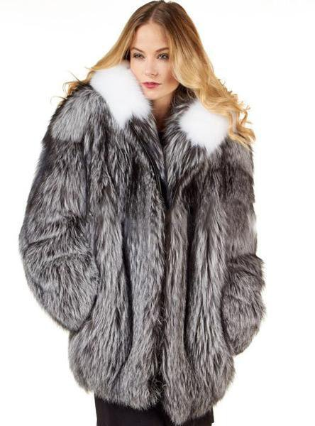 Female Silver Fur Parka Coat