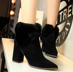 Female Winter Square High Heel Boots