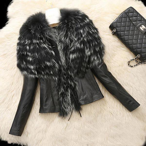 Long Sleeve Fur Collar Fur Coats
