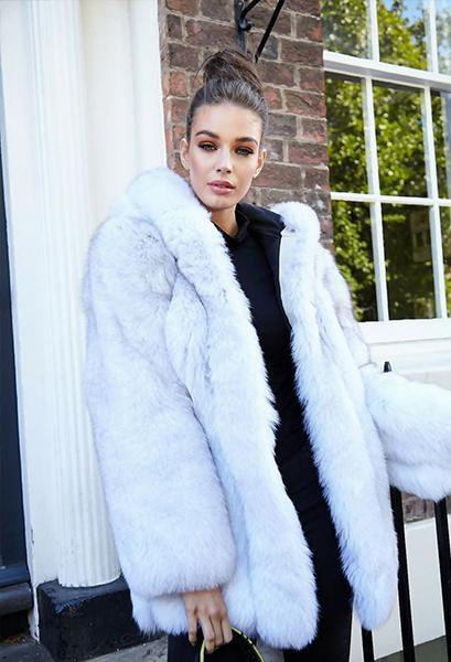 Long Fur Coat With Hood