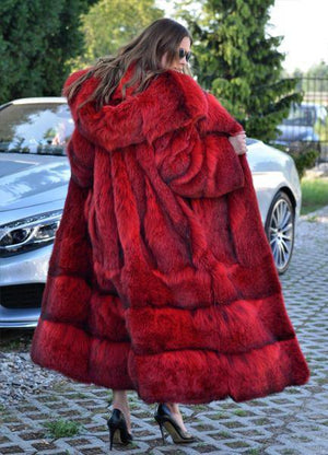 Female Red Long Hood Fur Coat