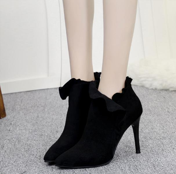 High-heeled Side Zipper Boots