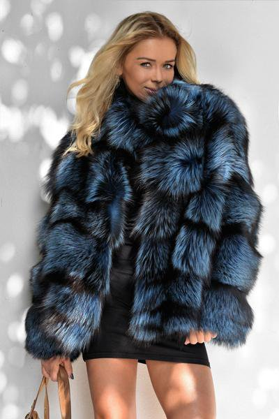 Silver Fox Fur Jacket Vest Coat