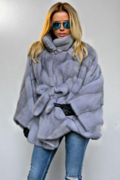 Grey Waist Fur Coat