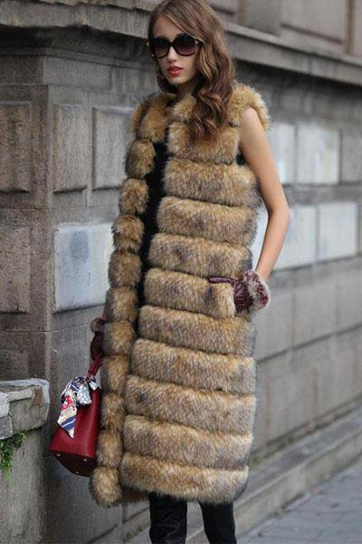 Long Sleeveless Fur Jacket