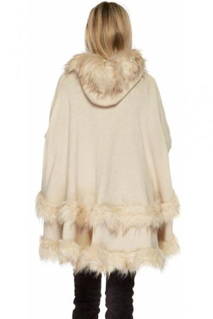 Double Layered Hooded Fur Cream Poncho