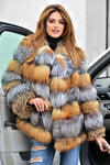 Multi Color Fox Fur Coat Jacket