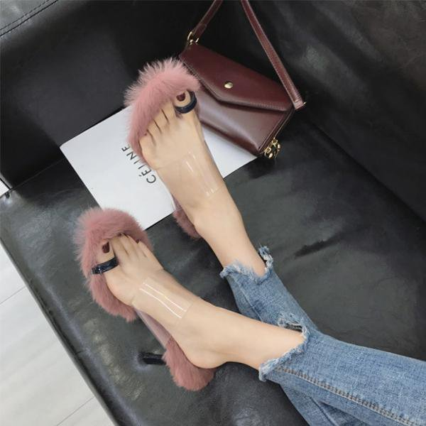 Transparent High Heels Fur Shoes