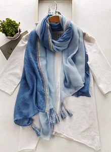 Elegant Cotton Color Block Scarves