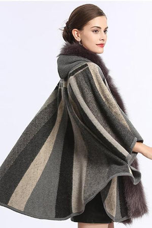 Striped Fur Collar Poncho