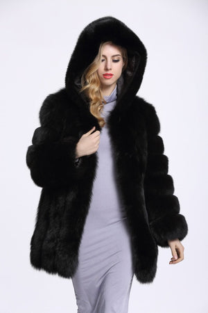 Hooded Warm Long Faux Fur Winter Jacket Coat