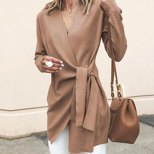 V-Neck Sashes Suede Coat