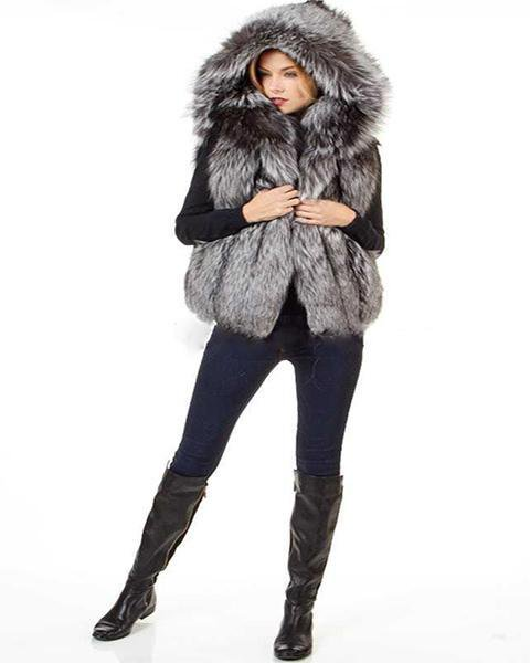 Woman Sliver Fox Fur Vest