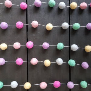 Felt Ball Garland - Pastel Rainbow