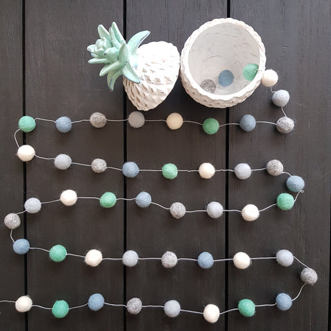 Felt Ball Garland - Minty Mint