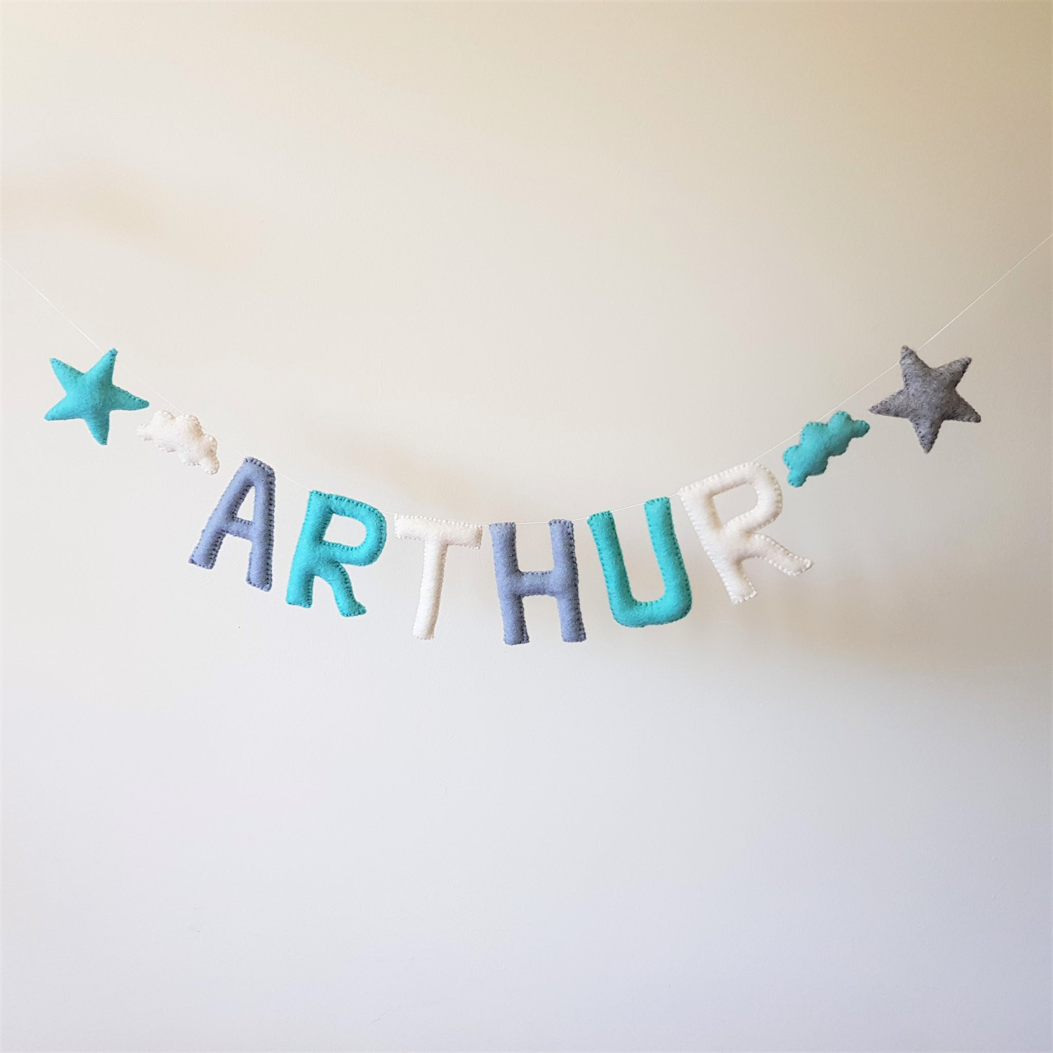 Customized Name Bunting - Duck Blue, Turquoise and White