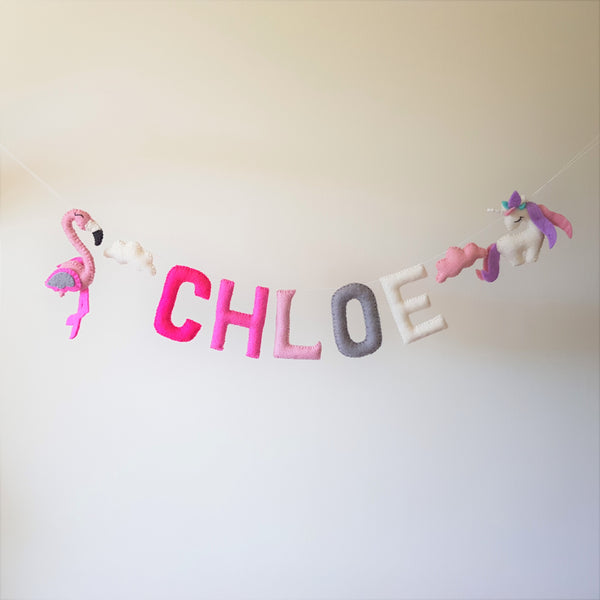 Customized Name Bunting - Shades of Pink, Grey and White