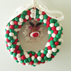 Felt Ball Wreath - Red, Green and White