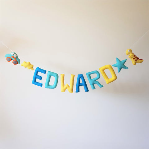 Customized Name Bunting - Blues and Yellow